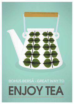 Retro tea poster art for Kitchen. Mid century modern Stig Lindberg