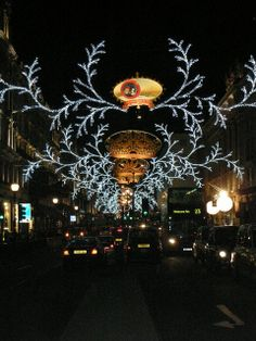 Regent Street in London at Christmas time