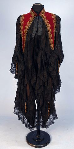 """historicaldress: """" WORTH PARIS BEADED VELVET and LACE DOLMAN, Cranberry velvet with stand collar having elaborate metallic gold cording and bronze beads, sides of fine cotton net decorated with jet beads in a pattern of bells, all trimmed. 1880s Fashion, Edwardian Fashion, Vintage Fashion, Fashion Goth, Historical Costume, Historical Clothing, Historical Dress, House Of Worth, Winter Mode"""