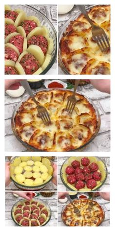 Boil potatoes and slice them arrange with meatballs and cheese and bake for a delicious french treat – Artofit Meat Recipes, Cooking Recipes, Healthy Recipes, Plats Ramadan, Good Food, Yummy Food, Tasty, Turkish Recipes, Russian Recipes