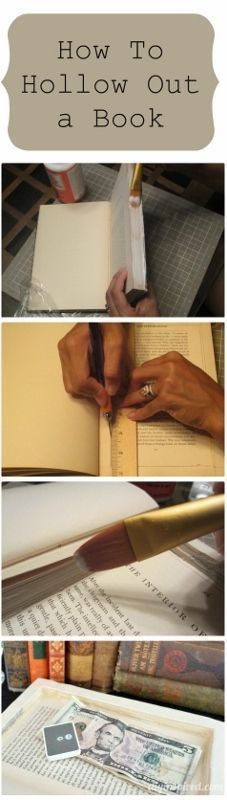 How to Hollow Out a Book to Make a Secret Book Safe - DIY Inspired #BooksArt