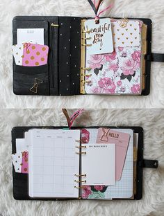 wonderfullifee:  Spent the afternoon making my own dividers for my large black Kikki K. I had a bad experience buying dividers off of Etsy so i decided to just make them myself so I 100% knew what I was getting. The tabs are just cardstock coated with fine gold glitter and glued to the paper. The actual dividers are all laminated. I'm totally in love with this setup and it beats anything I've purchased on Etsy before!