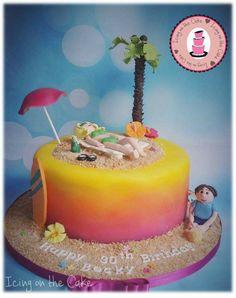 beach,sunset themed cake. handmade sunbather with fondant palm tree