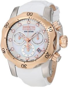 Invicta Women's 0952 Venom Reserve Chronograph White Mother-Of-Pearl Dial White Leather Watch Invicta. $322.80. Swiss quartz movement. White Mother-Of-Pearl dial with rose gold tone and white hands and hour markers; luminous; unidirectional 18k rose gold ion-plated stainless steel bezel; screw-down crown and pushers. Flame-fusion crystal; brushed and polished stainless steel case; white leather strap with alligator pattern. Chronograph functions with 60 second...