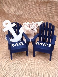 Nautacal-Beach Chairs- Adirondack Cake Topper- Mr. & Mrs .With Anchor on Etsy, $29.00