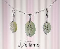 Earrings and pendant jewelry set with green onyx by byVellamo, $35.00