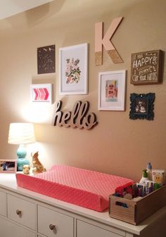 Changing Station Gallery Wall • Coral Changing Pad • Floral Nursery