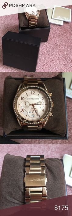 Michael Kors rose gold watch This watch is from Michael Kors. It is rose gold with rhinestone trim. The face is round. The links have been taken out but saved. It has been worn before but is in good condition. It does show signs of tarnish in some areas as seen in photos. Michael Kors Accessories Watches