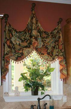Tuscan style – Mediterranean Home Decor Valance Window Treatments, Kitchen Window Treatments, Custom Window Treatments, Window Coverings, Curtains And Draperies, Diy Curtains, Kitchen Curtains, Drapery, Tuscan Curtains