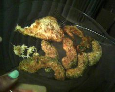 Avacado Fries! Simple, delicious and healthy. When I made my avocado fries I did so without a recipe and after the fact had to find one to pin. My Recipe: - Peel avocado, slice thinly - Coat in 1 whisked egg - Roll in bread crumbs (I used an Italian Herb blend and added; Garlic powder, salt, pepper, chilli powder and basil) - Place on baking sheet (I love my stone-ware baking sheet) - Bake at 350 for about 30 minutes Eat and Enjoy! (p.s. I also rolled Swai fish in crumbs and baked in oven)