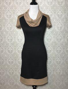 812de1c6ecb Cache Sheath Dress Size 2 Black Tan Ponte Cowl Neck Color Block Short  Sleeves  fashion