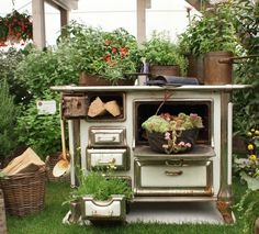 Old oven with flowers