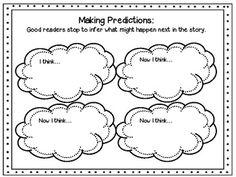 This graphic organizer can be used for students to stop and make predictions during reading.