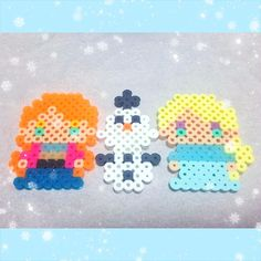Anna, Elsa and Olaf - Frozen perler beads by fuuyan0222