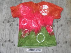 Brown Red and Green Spots N Dots Tie Dye TShirt