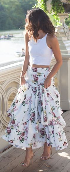 This Time Tomorrow White Ruffle Floral Midi Skirt | Crop top: Asos; Skirt: LN Family; Shoes: Steve Madden; Necklaces: Jennifer Zeuner; Bracelets: Vita Fede; Sunglasses: YSL