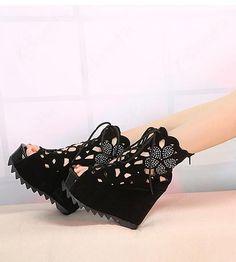 Sexy Black Suede Upper Platform Wedge Heels Women Boots