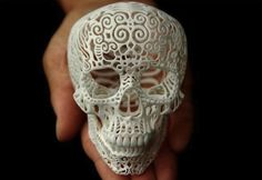 Sculpture of a skull.  Created by a 3D printer