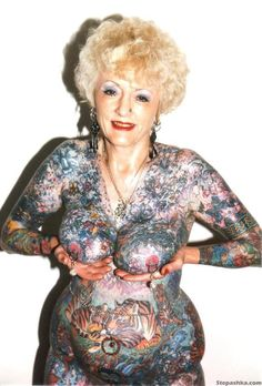 ... of old people with completely beautiful tattoos to show you that they look, eh, about 89 percent as good on your 70th birthday as they did on they day ...