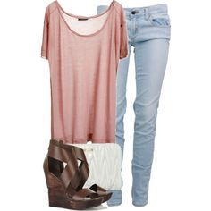 rose colored t-shirt with light blue jeans, brown wedges and white clutch