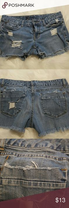 Mossimo distressed cut off!! Size 8R These are hand made by me!! I spent a lot of time distressing these jeans, they are super soft and comfortable ...they do have some stretch.. please ask any questions.. Mossimo Supply Co Shorts Jean Shorts