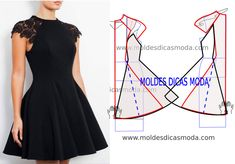 Black lady Black Dress with step by step the mold Wedding Dress Patterns, Dress Sewing Patterns, Clothing Patterns, Fashion Sewing, Dress Fashion, Fashion Tips, Diy Dress, Modest Dresses, Pattern Fashion