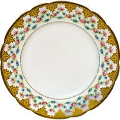 French Porcelain Dinner Plate W/ Pink Rose & Forget Me Not Flower Decoration