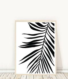 Palm Leaf Print Tropical Leaf Print Printable by honeytreeprints Leaf Prints, Wall Prints, Poster Prints, Reproductions Murales, Minimal Art, Black And White Wall Art, Black White, Affordable Wall Art, Scandinavian Art
