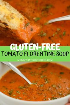 Creamy Tomato Florentine Soup is the perfect soup. It's similar to Zio's Tomato Florentine Soup and is wonderful paired with a Grilled Cheese! Gluten Free Lasagna, Gluten Free Meal Plan, Gluten Free Recipes, Quick Easy Meals, Easy Dinner Recipes, Soup Recipes, Chili Recipes, Delicious Recipes, Tasty