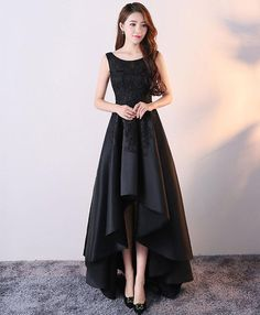 evening dresses Black Satin and Lace Round Neckline High Low Dress, High Low Formal Gowns, Party Dresses Elegant Dresses, Sexy Dresses, Beautiful Dresses, Evening Dresses, Fashion Dresses, Party Dresses, Short Dresses, Midi Dresses, Simple Dresses