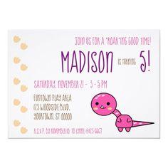 Pink Kawaii Dinosaur Birthday Party Invitation Diy Party, Party Gifts, Card Party, Party Ideas, Gift Ideas, Dinosaur Birthday Invitations, Dinosaur Birthday Party, Custom Invitations, Birthday Cards
