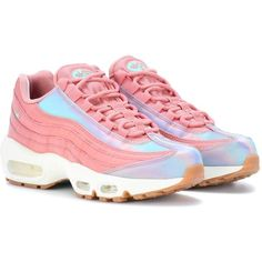 Nike Air Max 95 Leather Sneakers ($195) ❤ liked on Polyvore featuring shoes, sneakers, pink, nike, leather footwear, pink leather shoes, nike footwear and real leather shoes