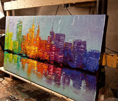 city painting colorful textured NYC city skyline - Abstract and Modern Art Painting