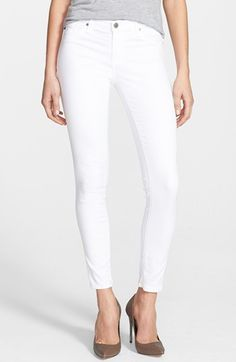 Free shipping and returns on AG 'The Legging' Skinny Ankle Jeans (White White) at Nordstrom.com. Crisp white denim sculpts these figure-contouring skinny jeans cleanly styled with tonal topstitching and faux front pockets for ultra-versatile wear - Labor Day rules begone.