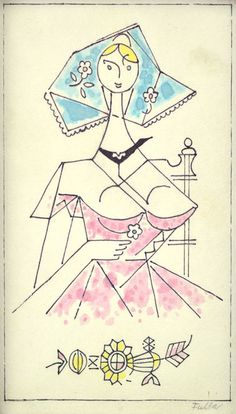 Dievča s kvietkom I. (List z náčrtníka) Ľ.Fulla
