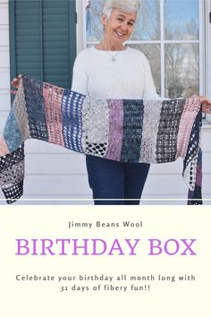 Celebrate your birthday all month long with the new Jimmy's Birthday Box! Think of this as a Craftvent for your special day, including all of the yummy goodies you could ask for (for knitters and crocheters alike)! Featuring 31 days of fibery fun in the ways of Madelinetosh Euro Sock (over 1200 yards), the needle and crochet hook you'll need to complete your project, download codes for the shawl pattern, and of course, a sprinkling of notions in the mix! Crochet Shawl, Knit Crochet, Birthday Box, 31 Days, Piece Of Cakes, Shawls, Special Day, Crochet Hooks, Sock
