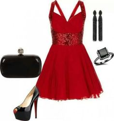 Red cocktail party dress outfit
