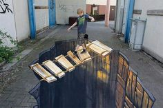Street Art, often known as chalk art is artwork drawn on the street itself that gives you a optical illusion from a certain angle. 3d Street Art, 3d Street Painting, Amazing Street Art, Street Art Graffiti, Amazing Art, Awesome, Chalk Painting, Amazing Photos, 3d Sidewalk Art