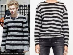 Luke Hemmings: Gray and Black Striped Sweater Similar / Similar / Similar/ Similar/ Similar/ Similar