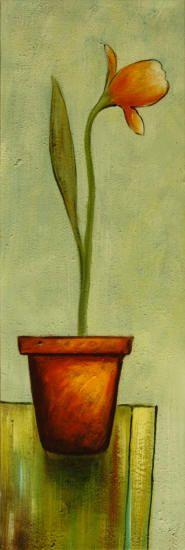 """cuadros modernos """"Maceta roja con flores III"""""""