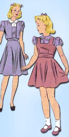 1940s Vintage Du Barry Sewing Pattern 2613 WWII Little Girls Bolero Suit Size 8