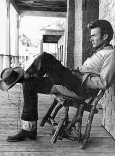 Clint Eastwood photographed on the set of Rawhide, c. 1959.