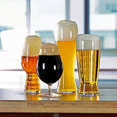 The Spiegelau Craft Beer Glass Tasting Kit has four different types of beer glasses that will make any brew taste its best. Inside, you'll find a unique IPA glass, a traditional lager glass, a stemmed pilsner glass, and a tall wheat beer glass. Modern Beer Glasses, Craft Beer Glasses, Beer Brewing, Home Brewing, Beer Glassware, Beer Tasting, Beer Bar, Best Beer, Brewery