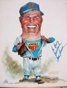 Baseball Art - Tom Seaver by Bruce Stark Mets Baseball, Mlb Mets, Cheap Baseball Jerseys, Baseball Quilt, Baseball Scores, Baseball Helmet, Baseball Art, Baseball Photos, Baseball Stuff