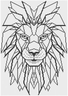 Geometric Lion Counted Cross Stitch Pattern door HornswoggleStore