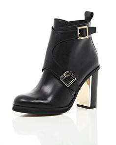River Island Black Leather Buckle Gold Heel Ankle Boots | LuckyShops