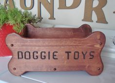 Dog Toy Box, Personalized Dog Toy Box, Wood Toy Box For Dogs, Bone Shaped Dog…