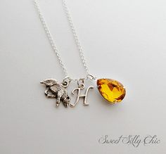 Hufflepuff Necklace, Harry Potter Hogwarts House Necklace, Harry Potter Jewelry, Yellow Topaz Badger Necklace