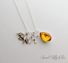 Hufflepuff Necklace, Harry Potter Hogwarts House Necklace, Harry Potter Jewelry, Yellow Topaz Badger Necklace
