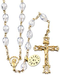 #Swarovski #Crystal Teardrop beads Rosary with Gold over Sterling Silver links, Our Lady of Miracles center and a Gold over Sterling Silver Filigree Crucifix. This #Rosary can be worn. Made in #Italy.(SKU 4-1602)